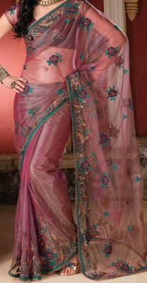 Net saree with thread embroidery work - Riyaa 902508