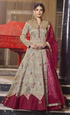 Beige hand embroidery jacquard salwar