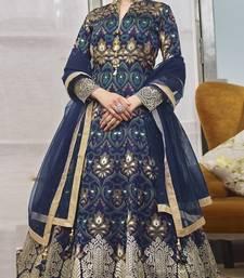 Navy-blue hand embroidery jacquard salwar