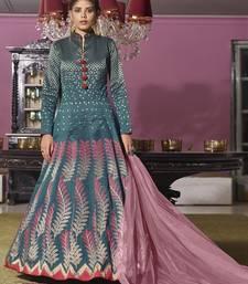 Turquoise hand embroidery jacquard salwar