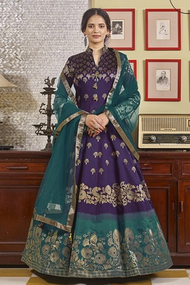 Purple hand embroidery jacquard salwar