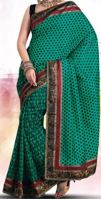 Printed Art Silk Saree with embroidery border - Riyaa