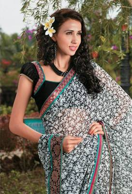Black n white georgette casual saree with lace border - Riyaa 902598