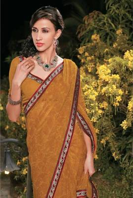 Mustard georgette casual saree with lace border - Riyaa 902598