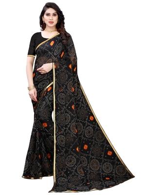 Black printed chiffon saree with blouse