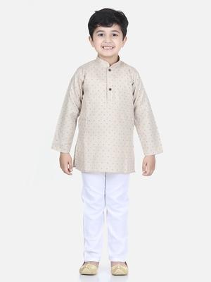 Beige printed cotton boys-kurta-pyjama