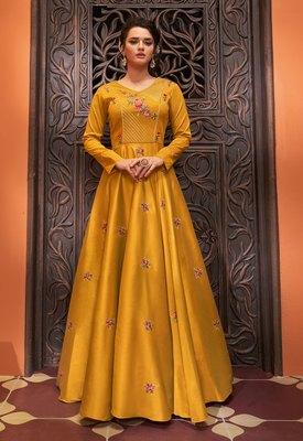 Mustard embroidered cotton silk party-wear-kurtis