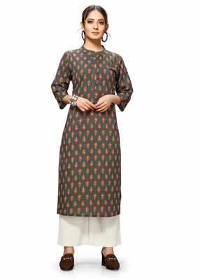 Varyaa Women's Brown Coloured Cotton Jaipuri Floral Printed Kurti (S To XXL-Size)