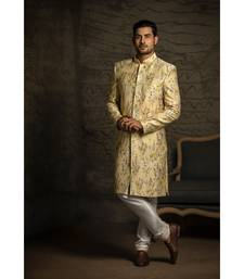 Printed Dupion Silk Sherwani with Cotton Silk Churidar for Men