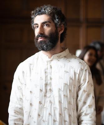 Organza Kurta with Cotton Silk Churidar for Men