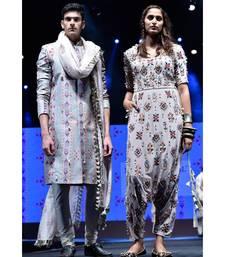 Printed Dupion Silk sherwani with Cotton Silk Churidar and Ikat Butti Silkmul Dupatta for Men