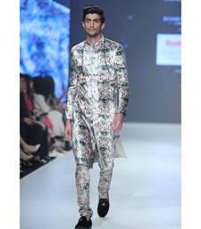 Printed Velvet Sherwani with Silkmul Churidar for Men