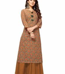 Varyaa Women's Brown Coloured Cotton Jaipuri Floral Printed Kurti