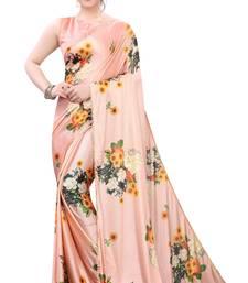 Pink woven satin saree with blouse