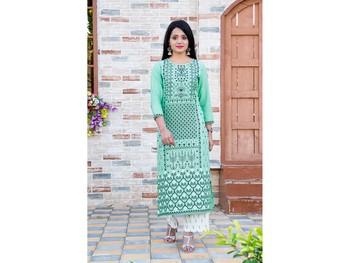 Light-green screen print blended cotton salwar