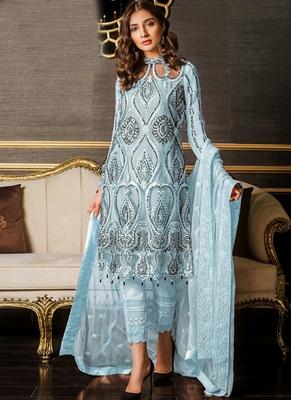 Sky Blue Sequence Designer Pakistani Suit