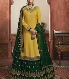 Yellow Satin & Georgette Lehenga & Pant Style Suit