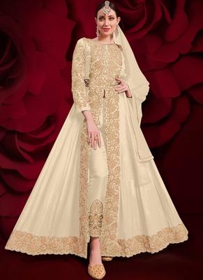 Beige Golden Embroidered Slit Style Anarkali Pant Suit