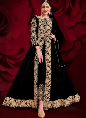 Black Golden Embroidered Slit Style Anarkali Pant Suit