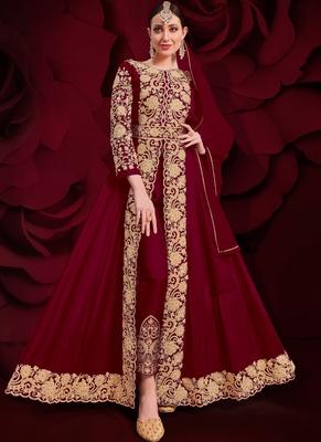 Maroon Golden Embroidered Slit Style Anarkali Pant Suit