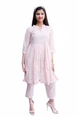 Women's Mulmul Cotton Kurti With pant Set (Baby Pink)