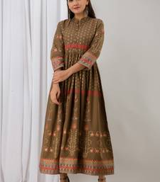 Womens Cotton  Printed Flared  Gown (Brown)