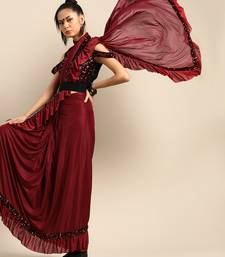 Maroon plain crepe saree with blouse