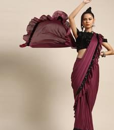 Pink plain crepe saree with blouse