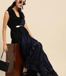 Blue plain crepe saree with blouse