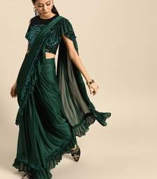 Green plain crepe saree with blouse