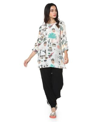 Printed Crepe High-Low Tunic for Women