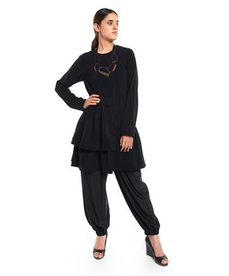 Georgette Two Layer Frill Hem Tunic for Women