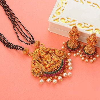 Gold south-indian-temple jewellery set