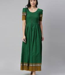 Green woven cotton long-dresses