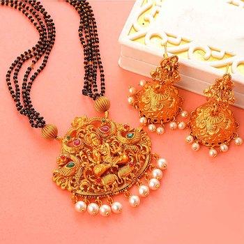 Golden south-indian-laxmi temple jewellery set