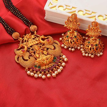 Gold Plated South-Indian-Temple-Jewellery Set