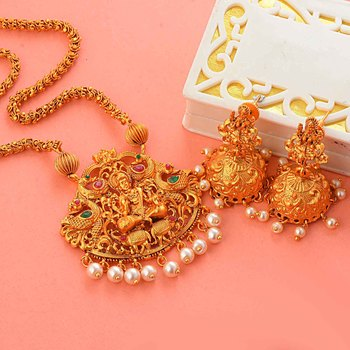 Traditional Gold Plated Matt Finish South-Indian-Jewellery Set