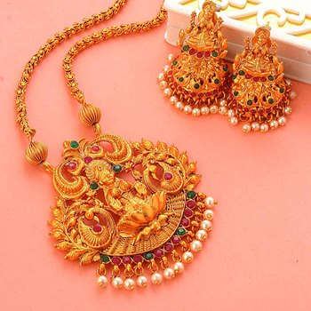 Gold Plated South-Indian-Temple Jewellery Set