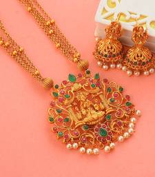 Laxmi Inspired Ruby Green South-Indian-Temple-Jewellery Set