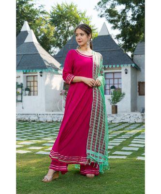 Pink Kurta with Lime Green Dupatta Set
