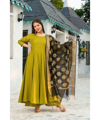Mehendi Green Suit Set with Chanderi kurta Dupatta
