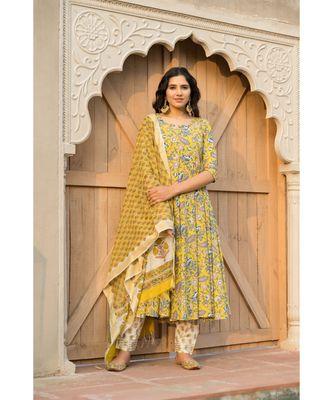 Canary Yellow Kurta With Hand block Print Dupatta Set