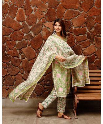Shiny Green Block Print Chanderi Suit kurta set