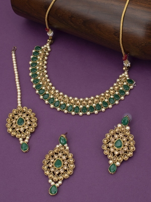 Lovely LCT Gold Plated Pearl Choker Necklace Set for Women