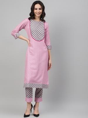 Pink printed rayon kurtas-and-kurtis