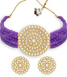 Sukkhi Classic Gold Plated Purple Pearl Choker Necklace Set for Women