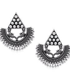 Sukkhi Gleaming Oxidised Peacock Chandbali Earring for Women
