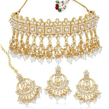 Sukkhi Pretty Kundan Gold Plated Pearl Choker Necklace Set for Women