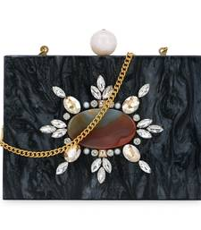 Anekaant Marble Black & Multi Wooden & Resin Marble Box Clutch