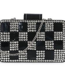 Anekaant Marble Black & Silver Metal & Fabric Checked Box Clutch